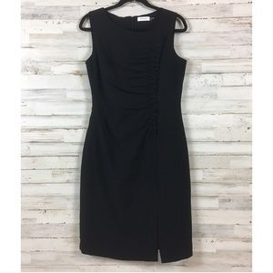 Calvin Klein Black Ruched Sheath Dress 10